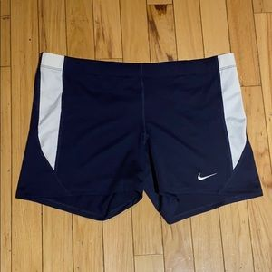 Woman's DRI-FIT Navy Blue/White Spandex Shorts XL